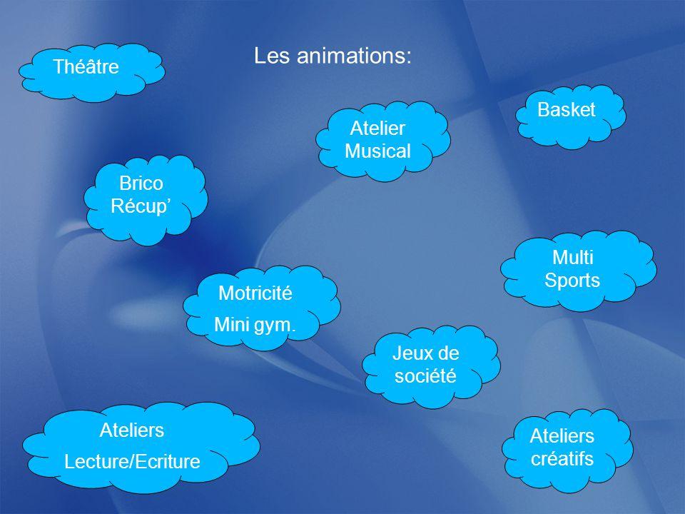 Les animations: Théâtre Basket Atelier Musical Brico Récup'
