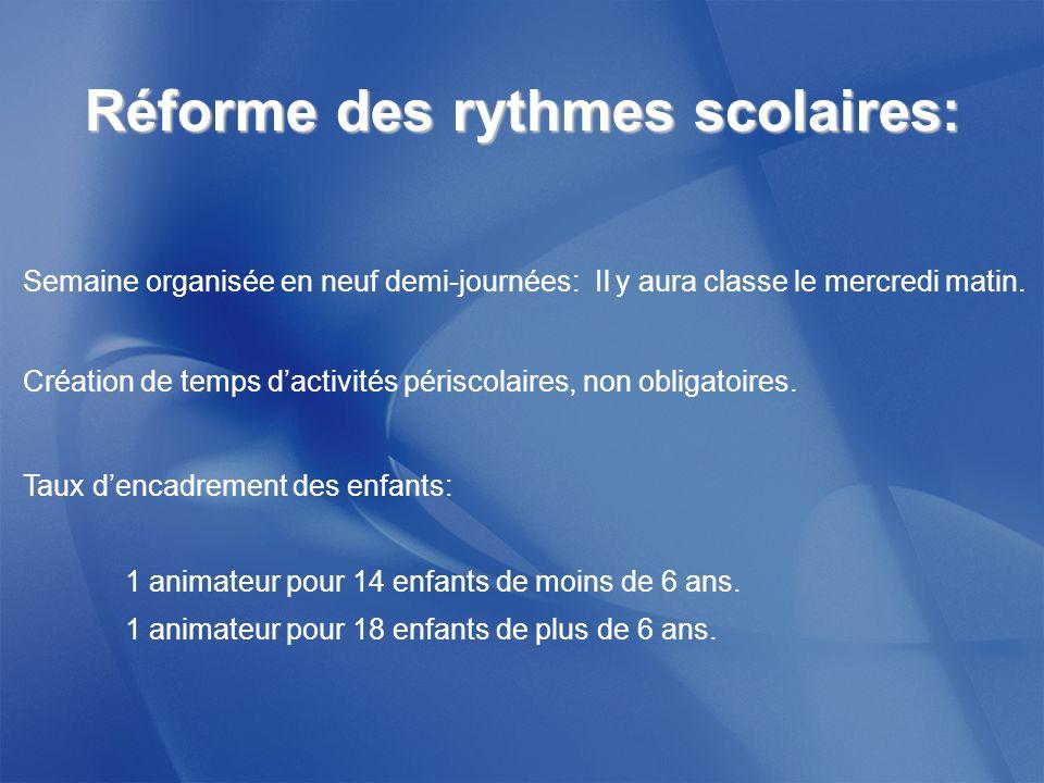 Réforme des rythmes scolaires: