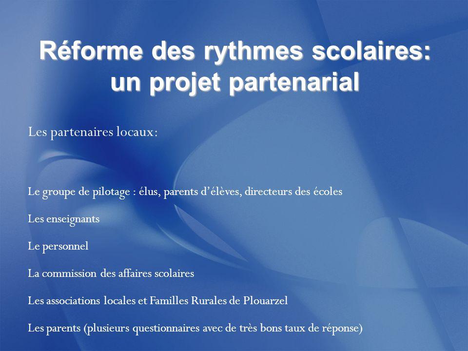 Réforme des rythmes scolaires: un projet partenarial