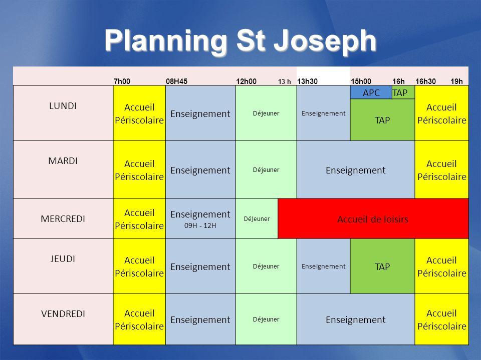 Planning St Joseph Accueil Périscolaire Enseignement APC TAP LUNDI