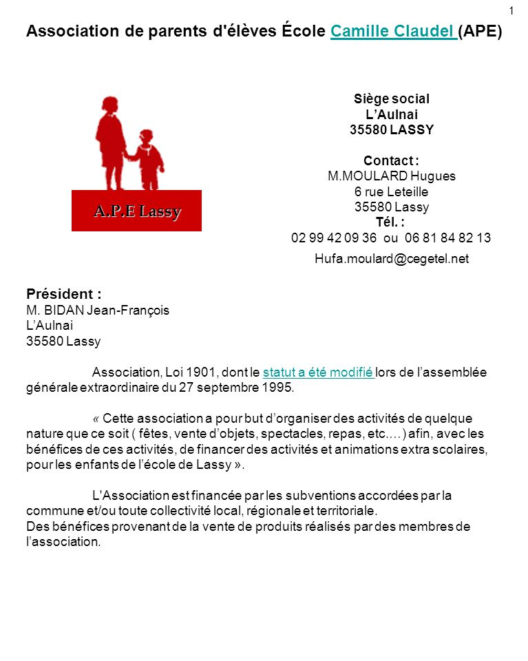 Association de parents d 39 l ves cole camille claudel ape - Composition bureau association loi 1901 ...