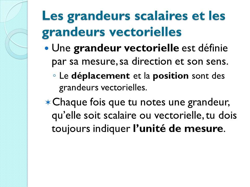 Les grandeurs scalaires et les grandeurs vectorielles