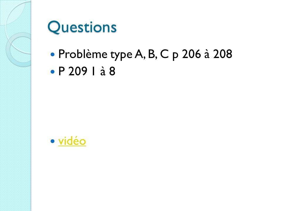 Questions Problème type A, B, C p 206 à 208 P 209 1 à 8 vidéo