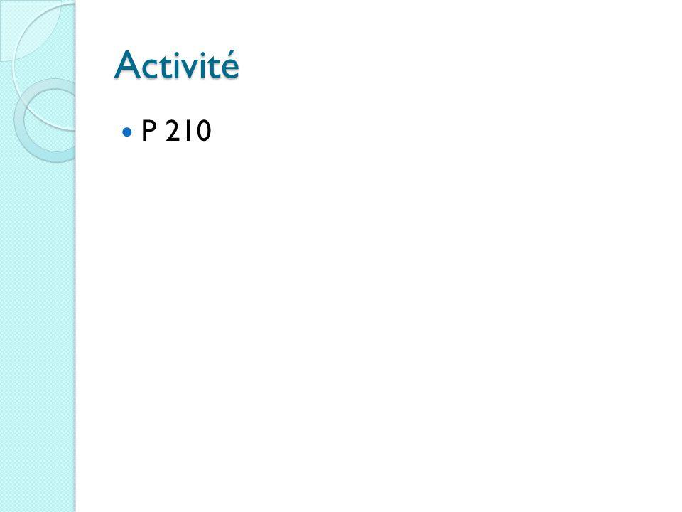 Activité P 210