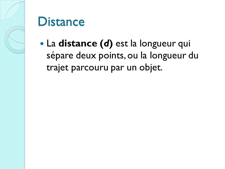 Distance La distance (d) est la longueur qui sépare deux points, ou la longueur du trajet parcouru par un objet.