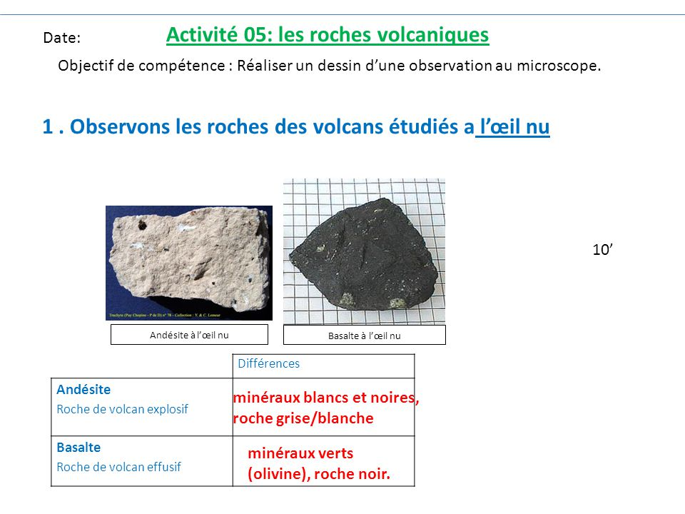 Activité 05: les roches volcaniques