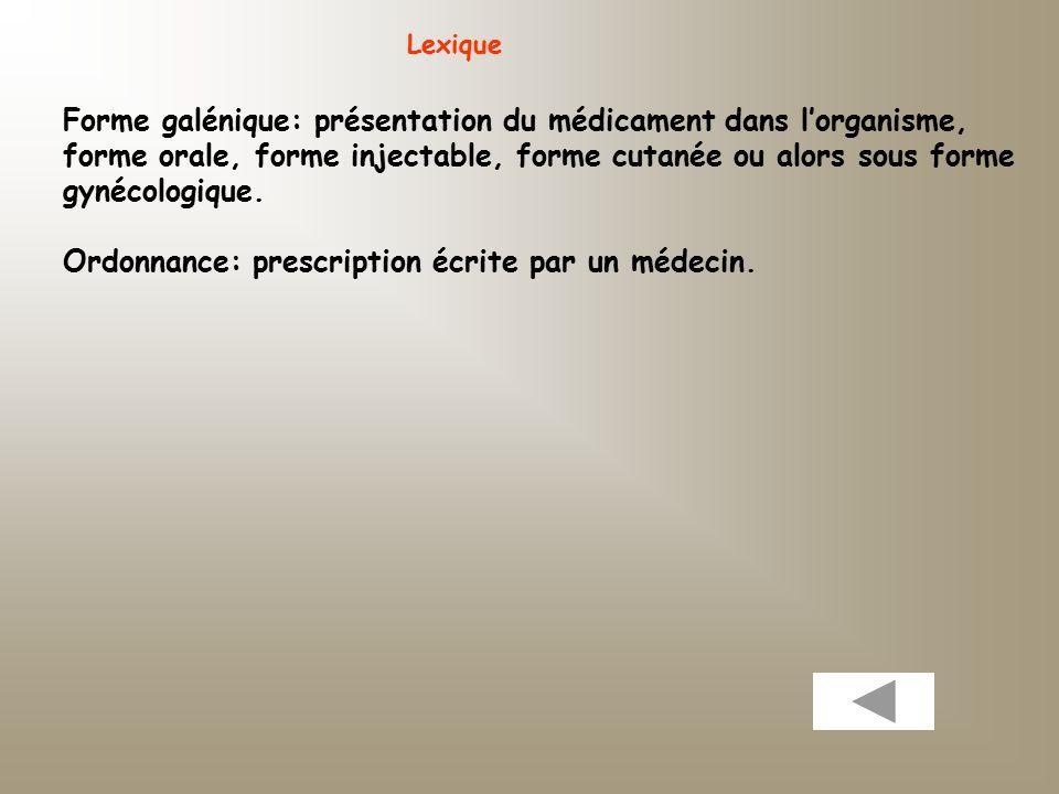 Forme galénique: présentation du médicament dans l'organisme,