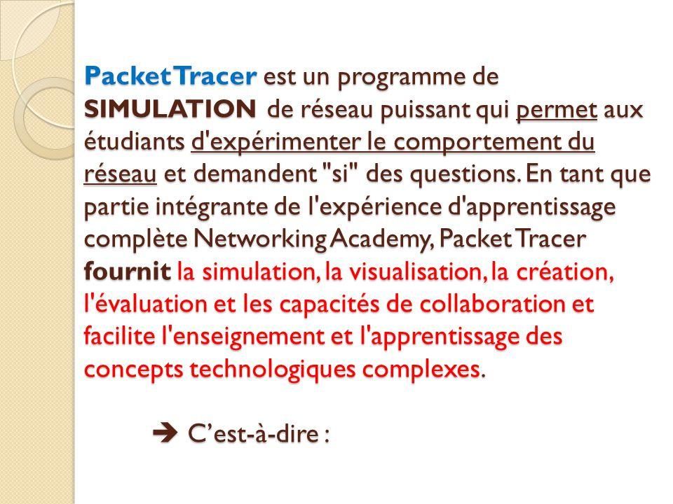 Packet Tracer est un programme de SIMULATION de réseau puissant qui permet aux étudiants d expérimenter le comportement du réseau et demandent si des questions.