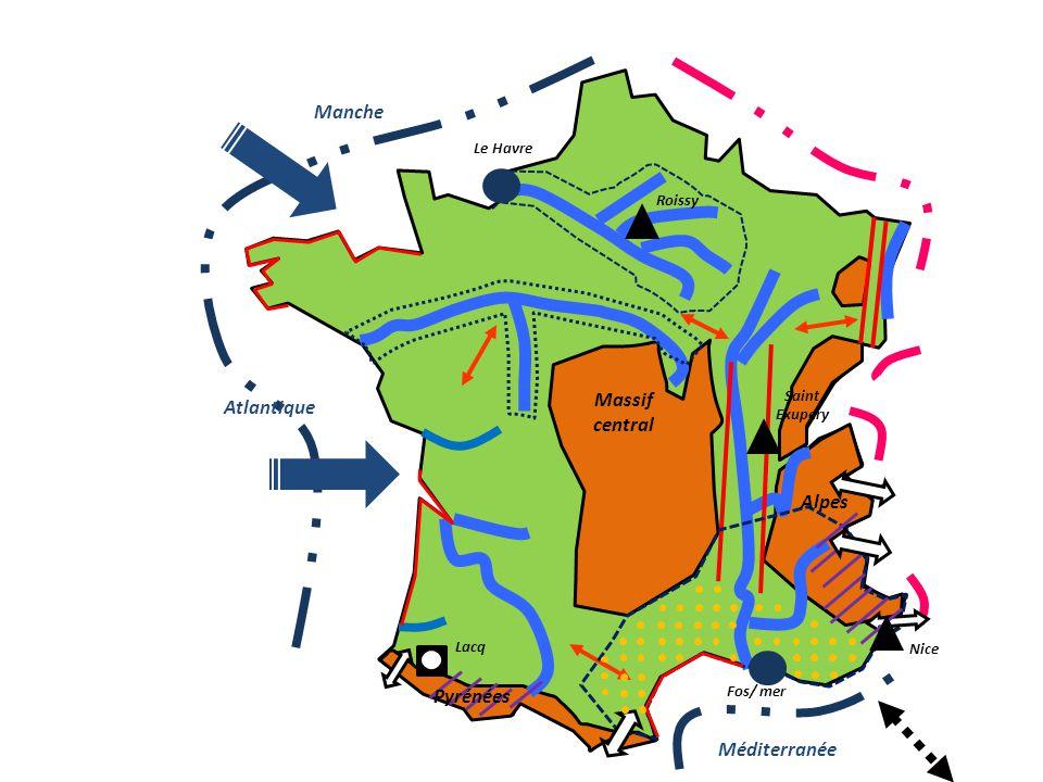 Manche Massif central Atlantique Alpes Pyrénées Méditerranée
