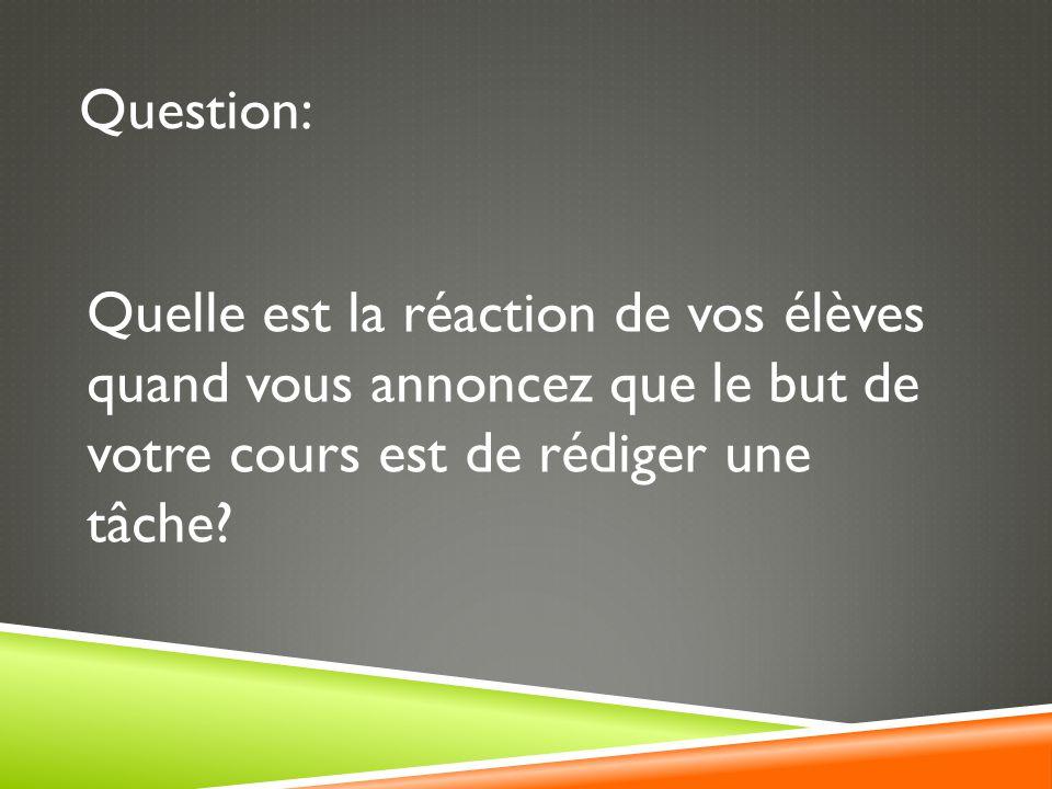Question: Quelle est la réaction de vos élèves quand vous annoncez que le but de votre cours est de rédiger une tâche
