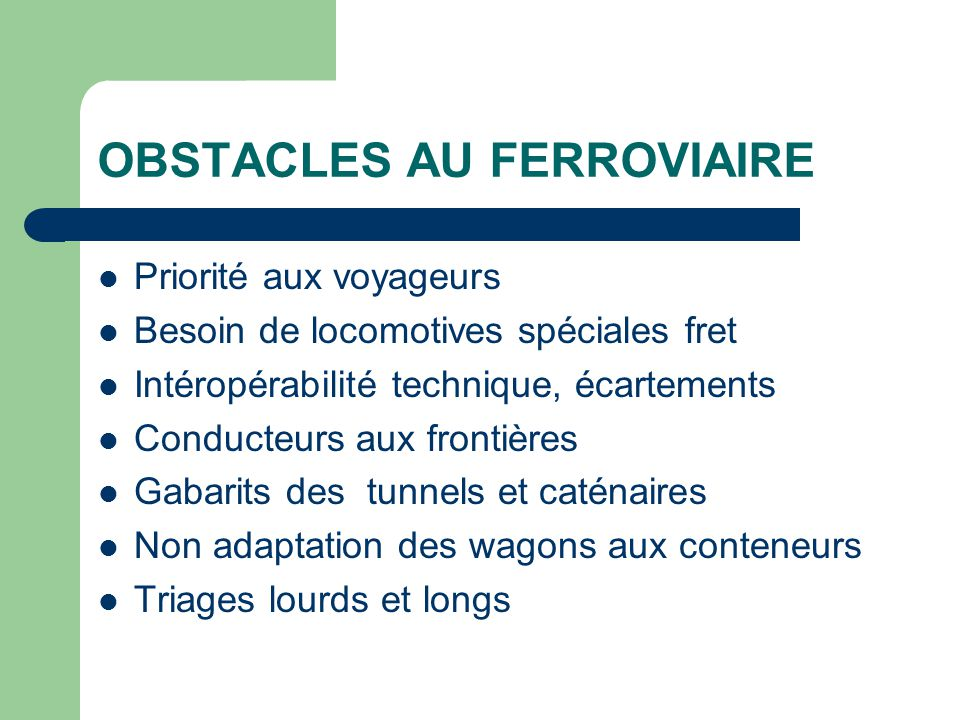 OBSTACLES AU FERROVIAIRE
