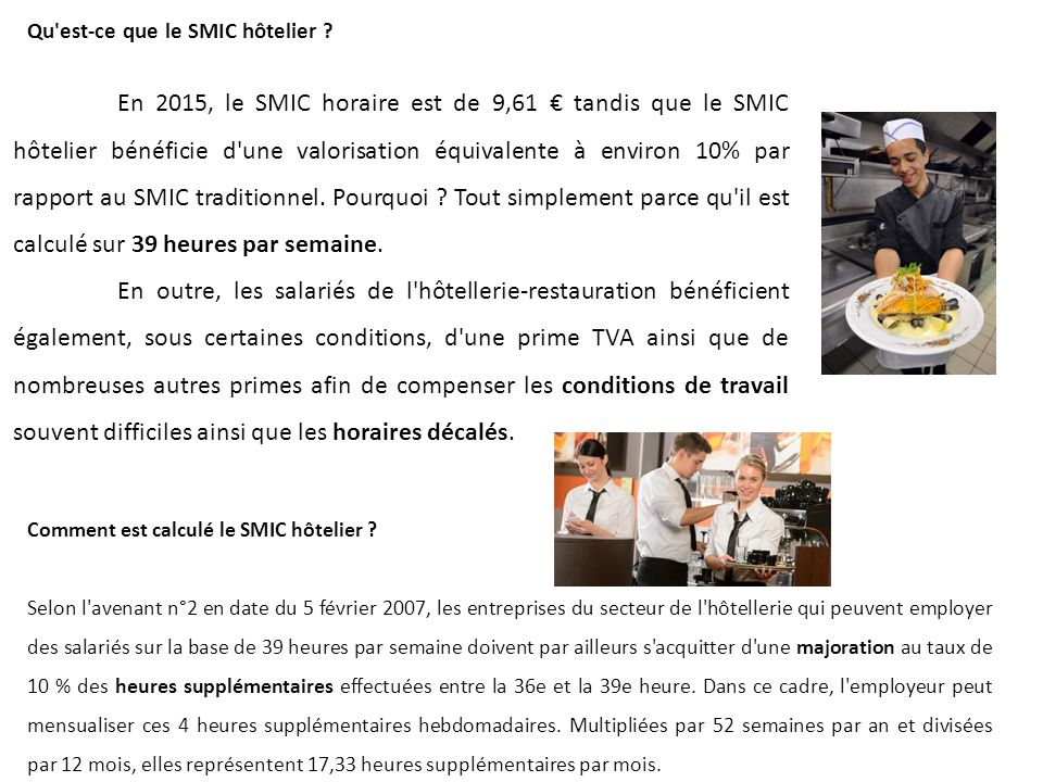 Taux horaire smic hotelier 2012 net - Grille salaire hotellerie ...