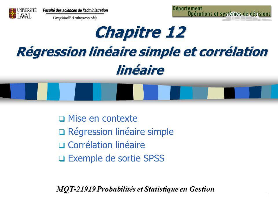 Chapitre 12 Régression linéaire simple et corrélation linéaire