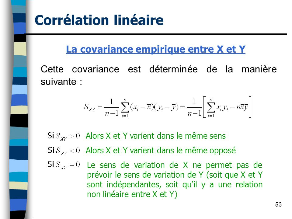La covariance empirique entre X et Y