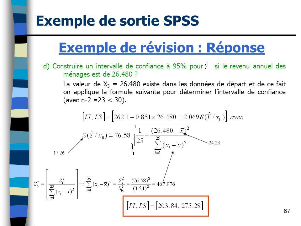 Exemple de révision : Réponse