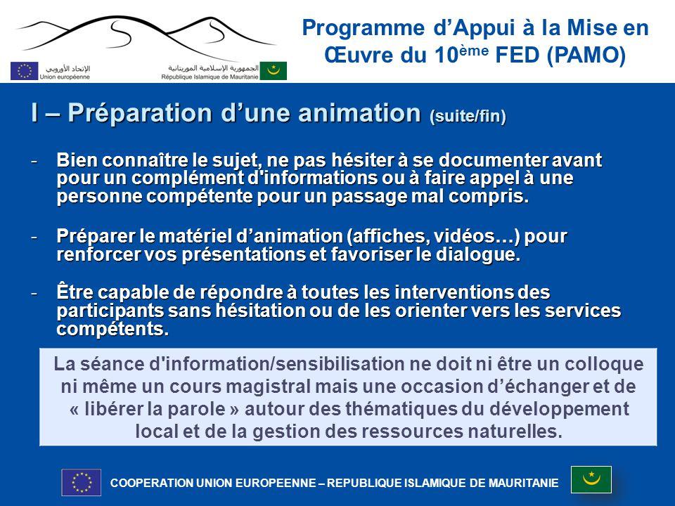 I – Préparation d'une animation (suite/fin)