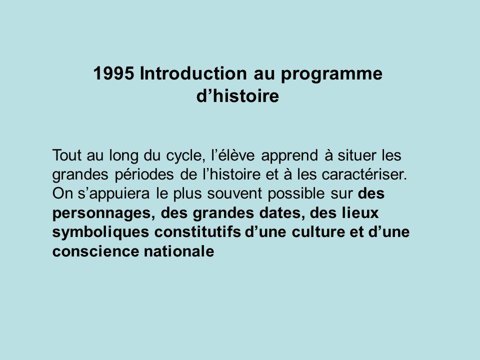 1995 Introduction au programme d'histoire
