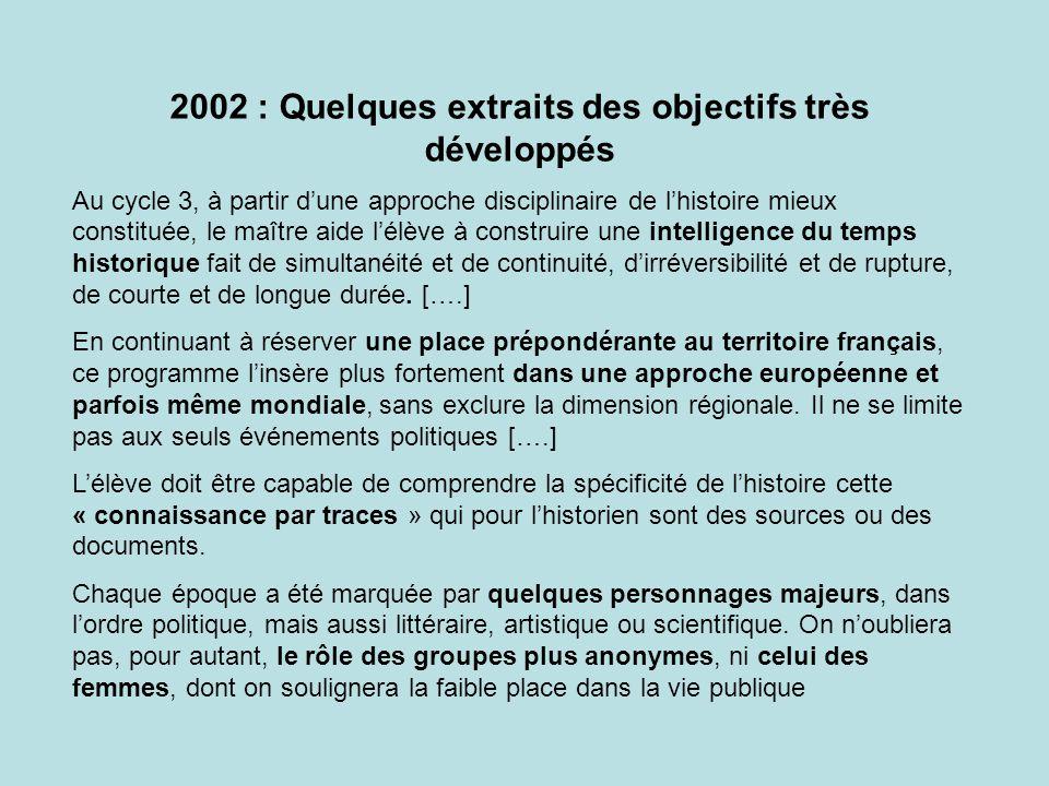 2002 : Quelques extraits des objectifs très développés