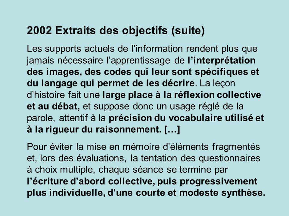2002 Extraits des objectifs (suite)