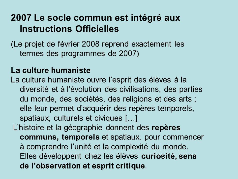 Le socle commun est intégré aux Instructions Officielles