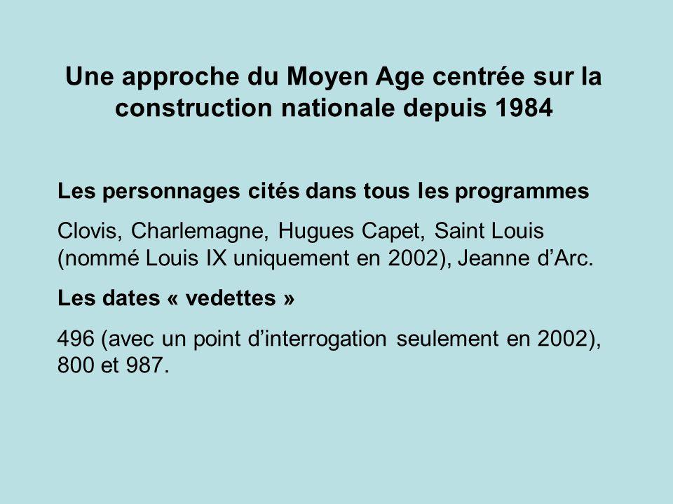 Une approche du Moyen Age centrée sur la construction nationale depuis 1984
