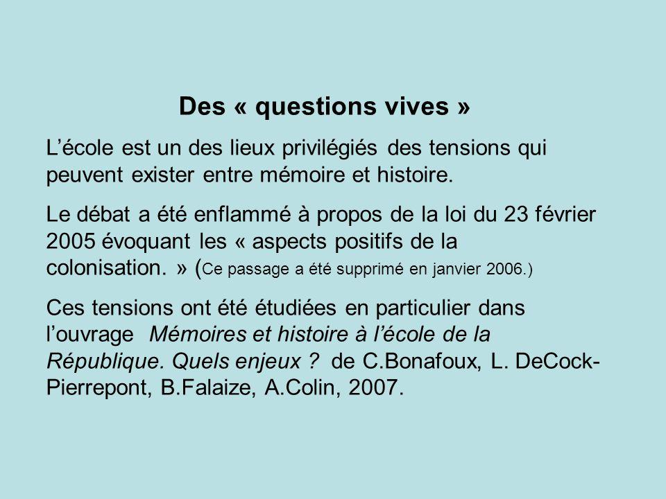 Des « questions vives » L'école est un des lieux privilégiés des tensions qui peuvent exister entre mémoire et histoire.