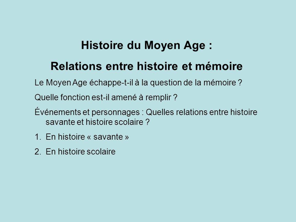 Relations entre histoire et mémoire