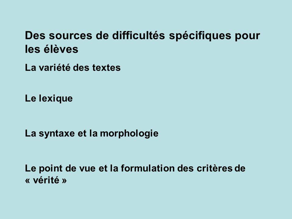 Des sources de difficultés spécifiques pour les élèves