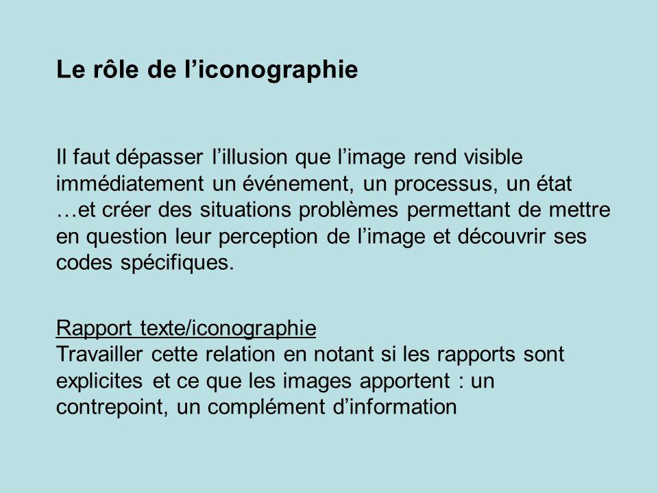 Le rôle de l'iconographie