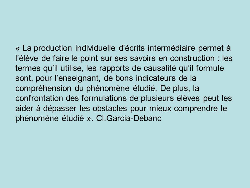 « La production individuelle d'écrits intermédiaire permet à l'élève de faire le point sur ses savoirs en construction : les termes qu'il utilise, les rapports de causalité qu'il formule sont, pour l'enseignant, de bons indicateurs de la compréhension du phénomène étudié.