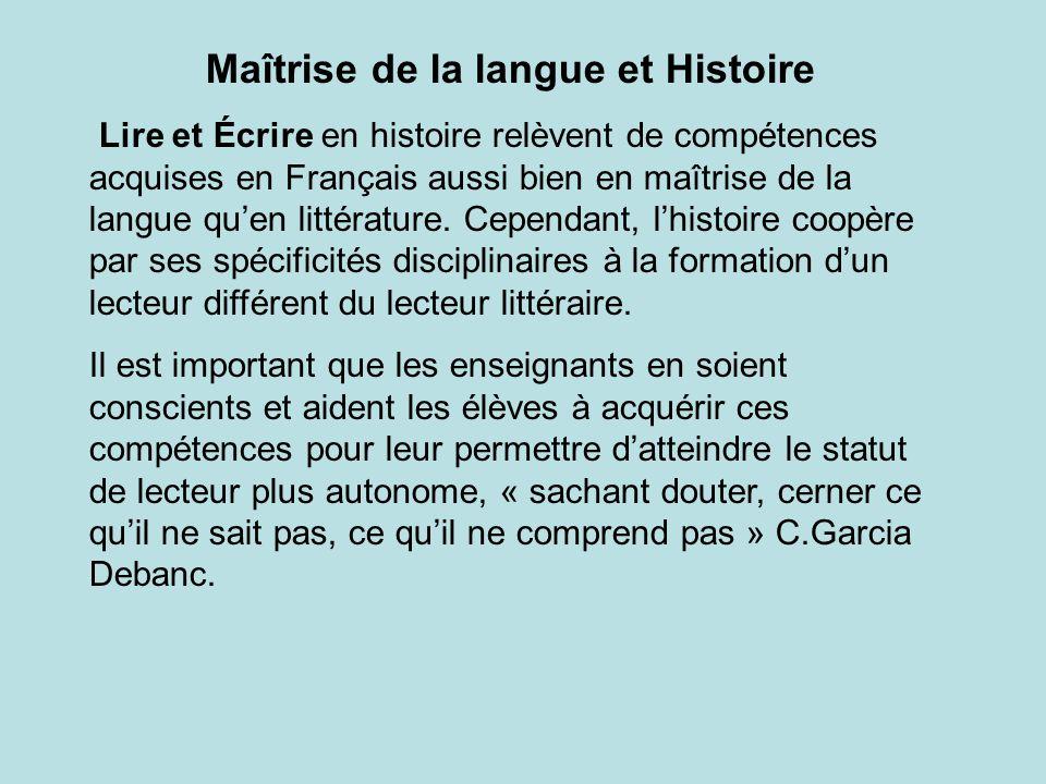 Maîtrise de la langue et Histoire