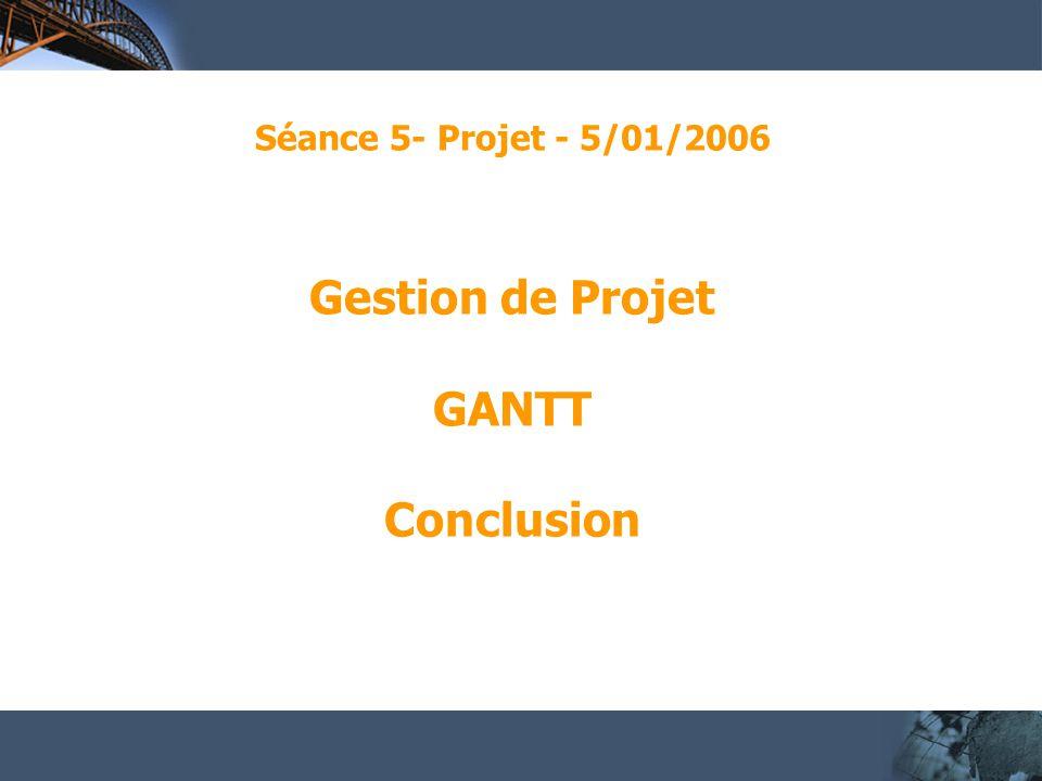 Séance 5- Projet - 5/01/2006 Gestion de Projet GANTT Conclusion