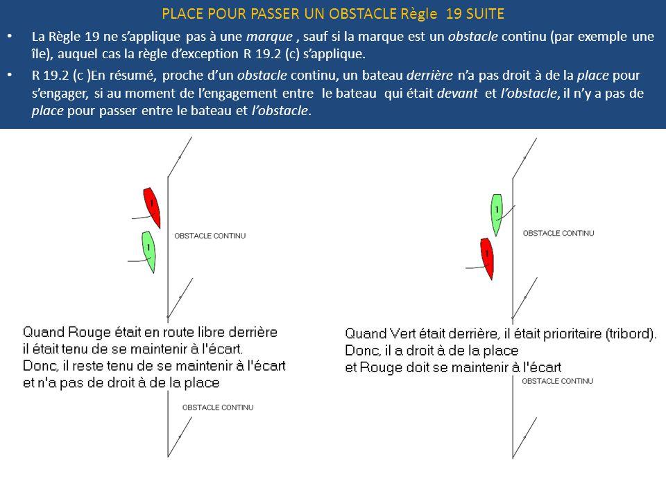 PLACE POUR PASSER UN OBSTACLE Règle 19 SUITE