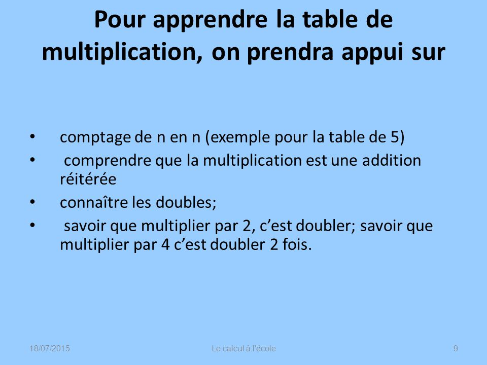 Animation math matiques au cycle 2 ppt video online t l charger - Table de multiplication par 4 ...