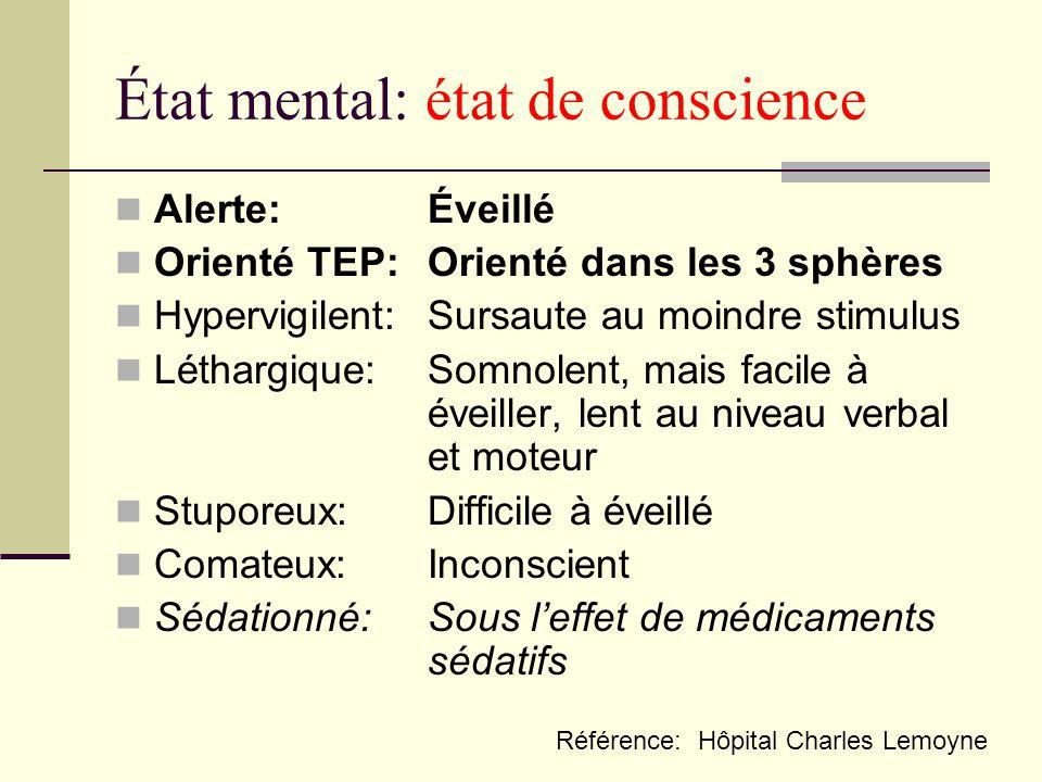 État mental: état de conscience