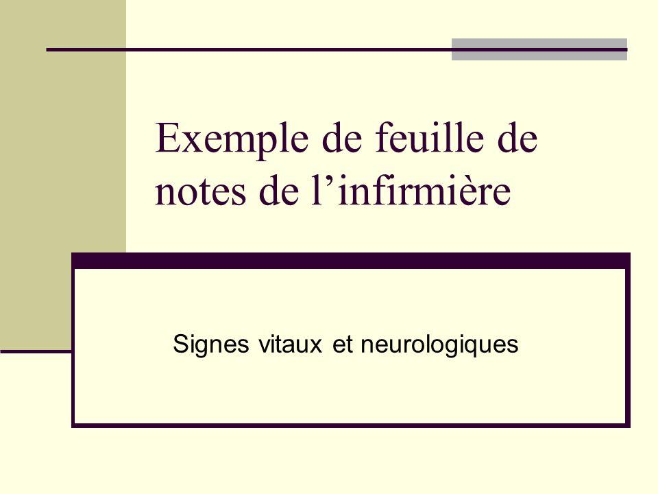 Exemple de feuille de notes de l'infirmière