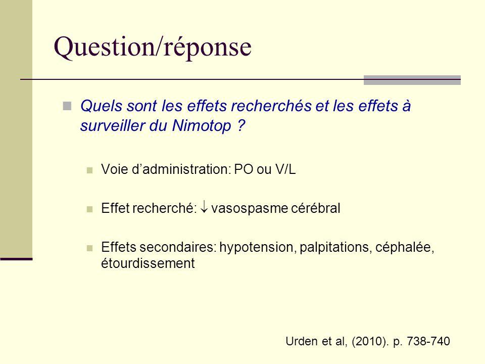 Question/réponse Quels sont les effets recherchés et les effets à surveiller du Nimotop Voie d'administration: PO ou V/L.
