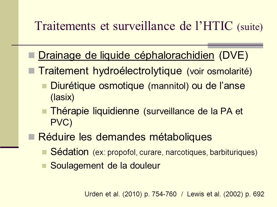 Traitements et surveillance de l'HTIC (suite)