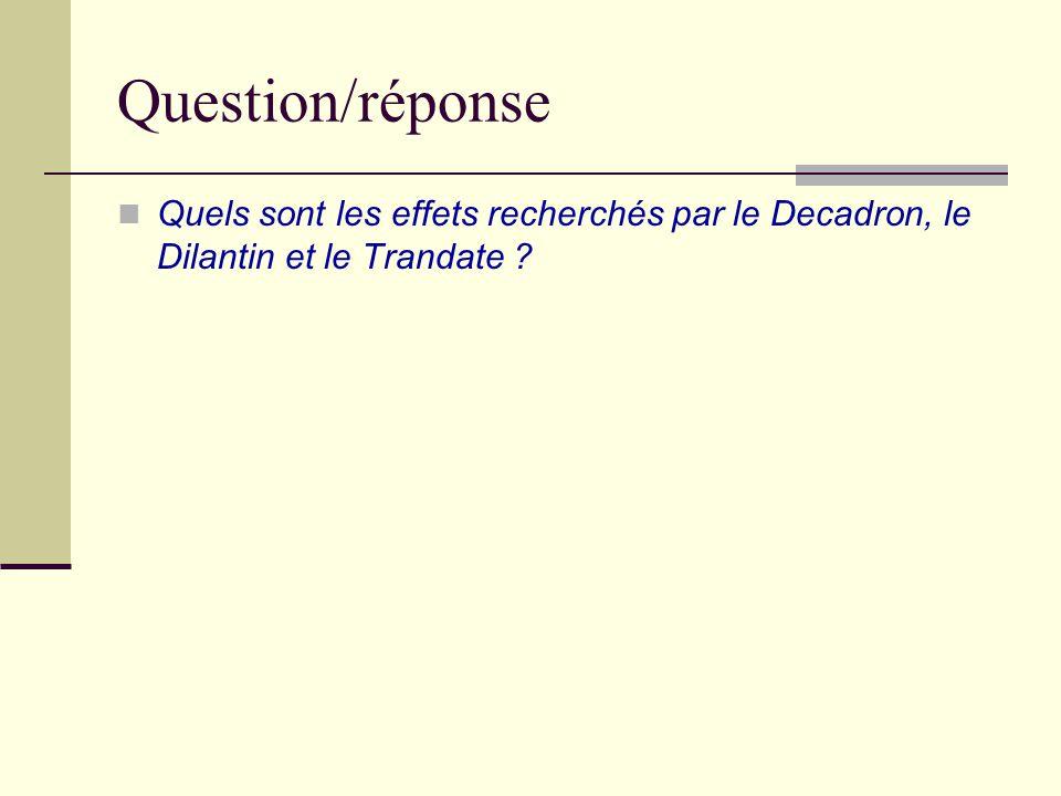 Question/réponse Quels sont les effets recherchés par le Decadron, le Dilantin et le Trandate
