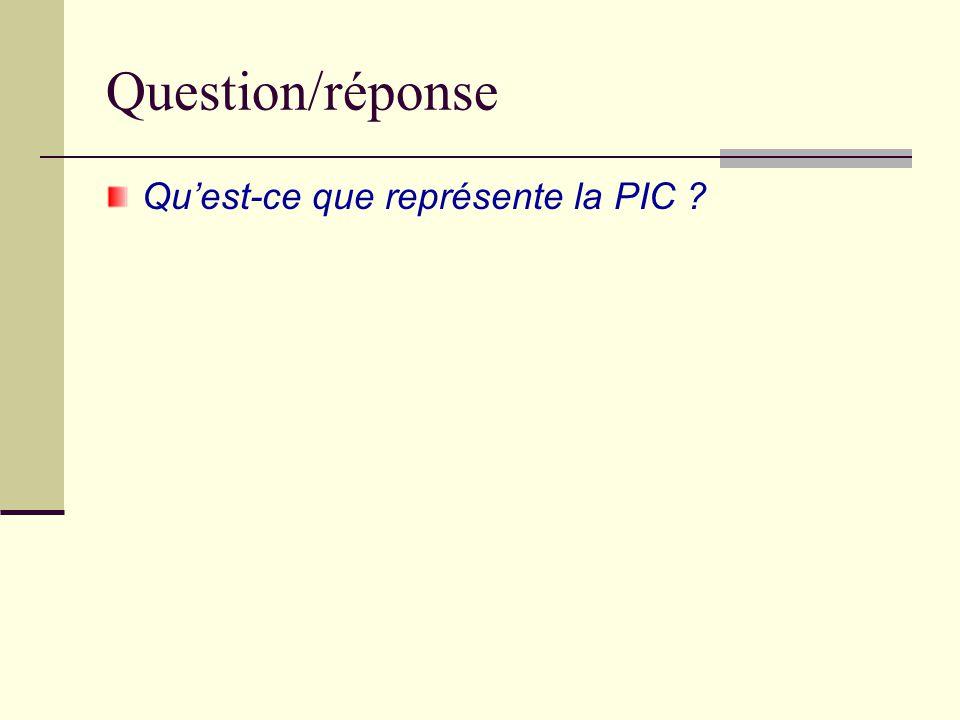 Question/réponse Qu'est-ce que représente la PIC