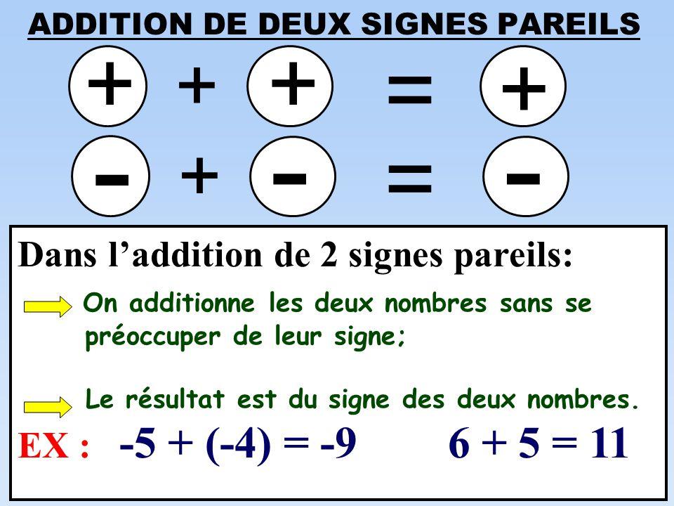 ADDITION DE DEUX SIGNES PAREILS