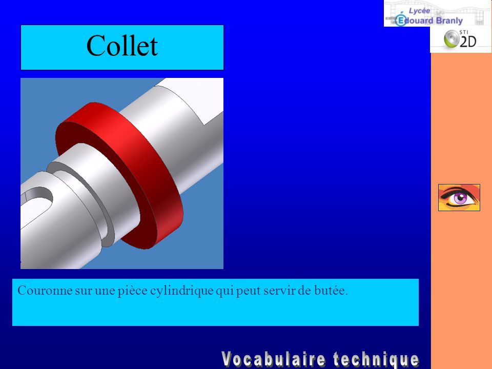 Collet Couronne sur une pièce cylindrique qui peut servir de butée.