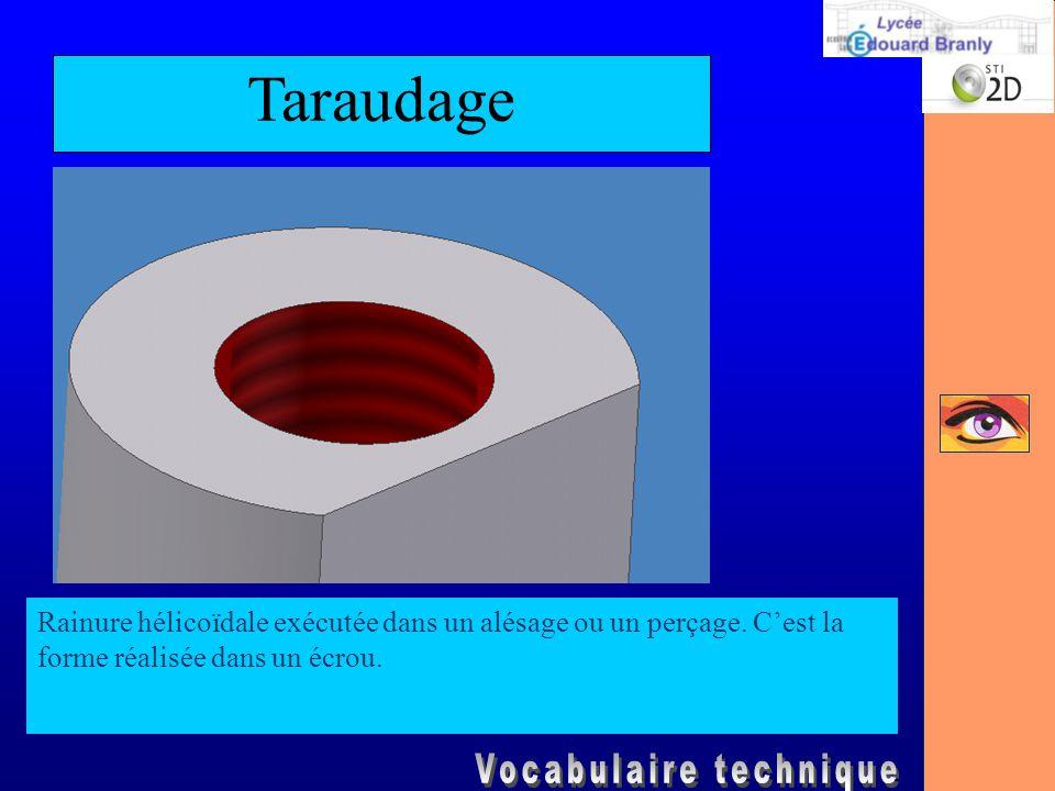 Taraudage Rainure hélicoïdale exécutée dans un alésage ou un perçage.