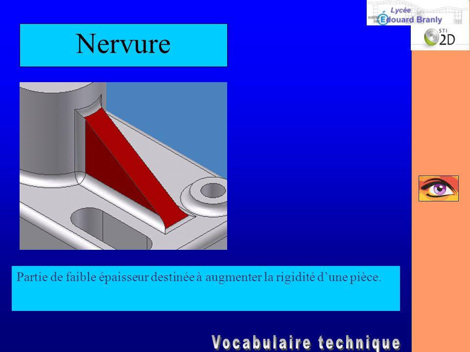 Nervure Partie de faible épaisseur destinée à augmenter la rigidité d'une pièce.