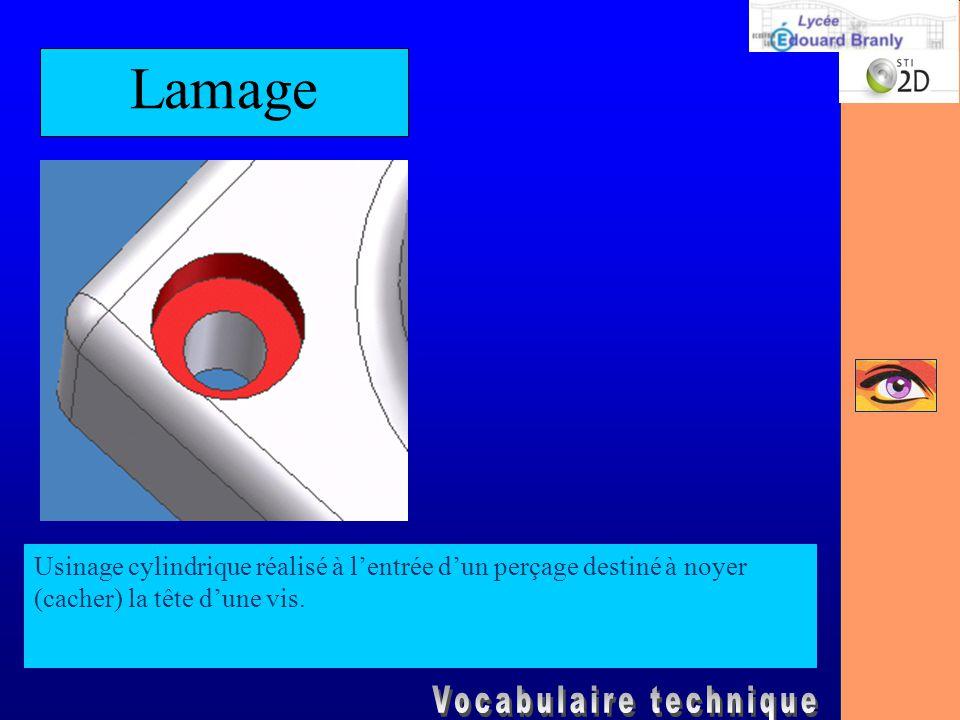 Lamage Usinage cylindrique réalisé à l'entrée d'un perçage destiné à noyer (cacher) la tête d'une vis.