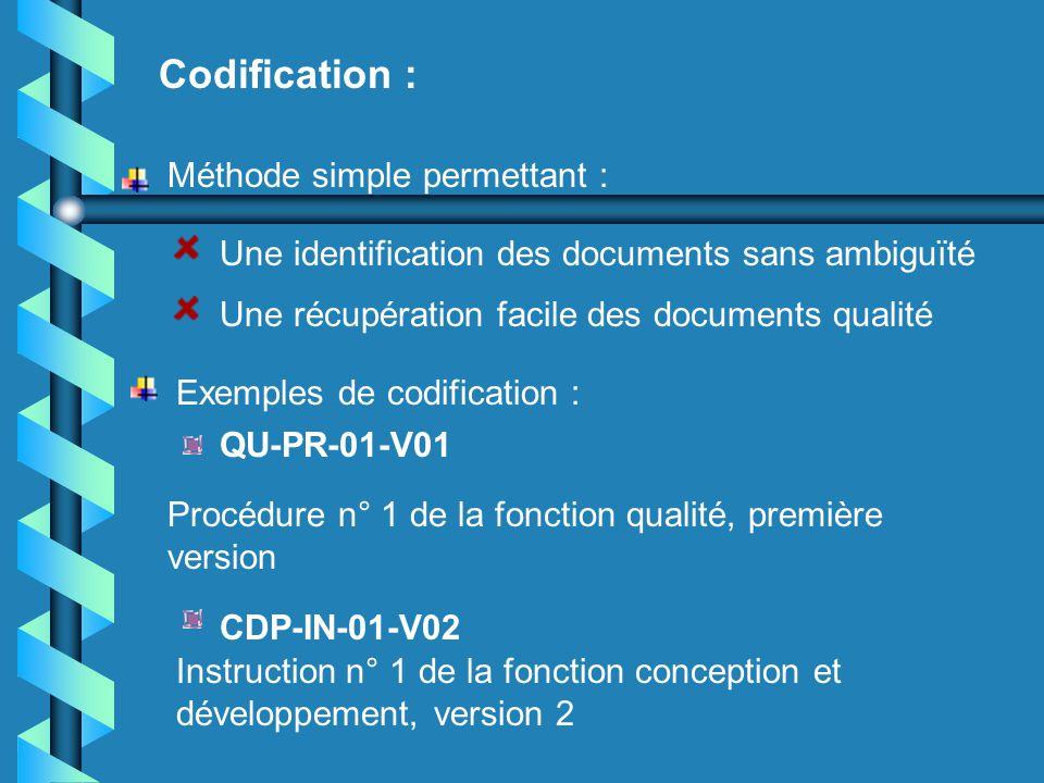 Codification : Méthode simple permettant :