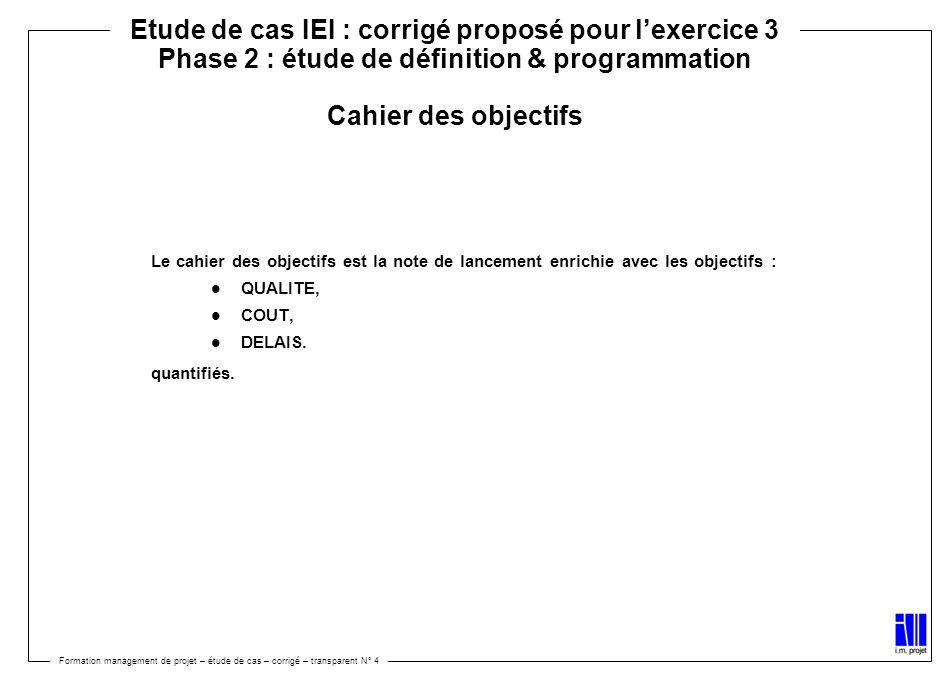 Etude de cas IEI : corrigé proposé pour l'exercice 3 Phase 2 : étude de définition & programmation Cahier des objectifs