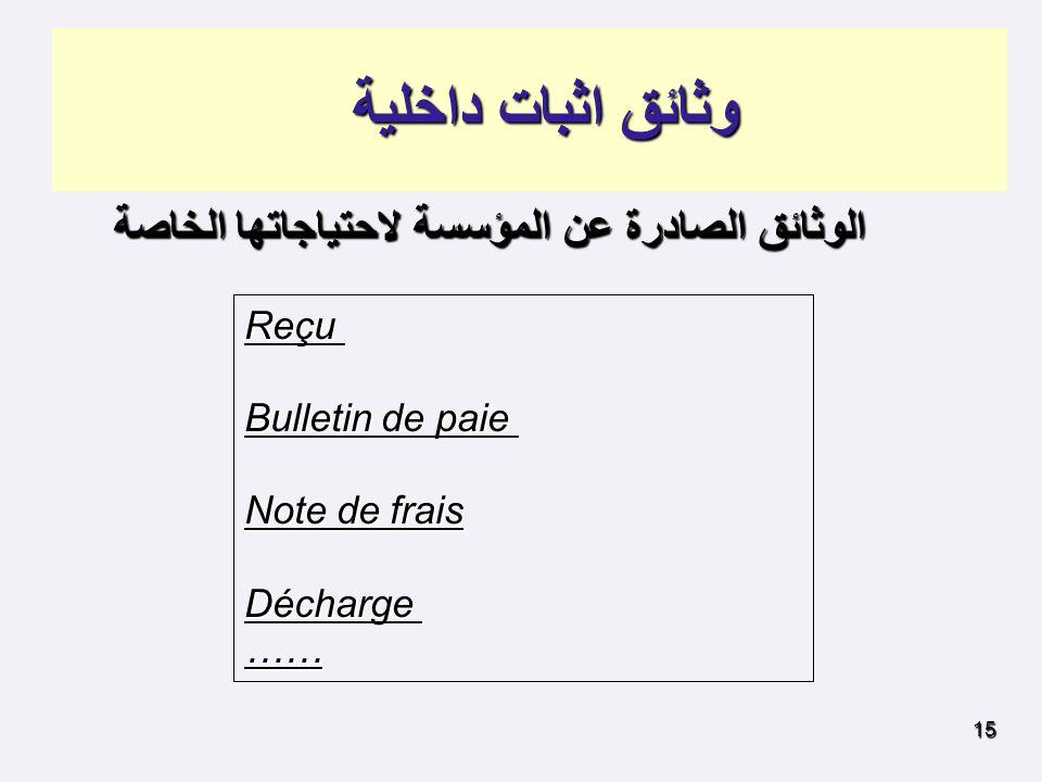 وثائق اثبات داخلية Reçu Bulletin de paie Note de frais Décharge ……