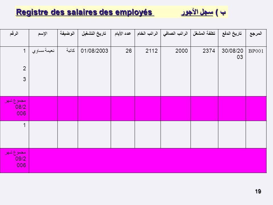 ب ) سجل الأجور Registre des salaires des employés