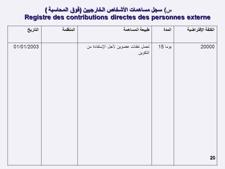 س) سجل مساهمات الأشخاص الخارجيين (فوق المحاسبة )